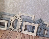 Reserved 5 Vintage Style PICTURE FRAMES - shabby chic wedding - french gray and creamy white - Glass and Backing