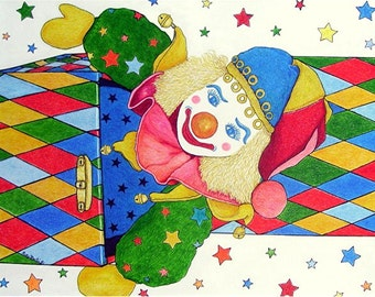 Harlequin, Clown, Nursery, Boy, Girl Room, Original Large Gallery Wrap ready to Hang Painting by  ebsq Artist Ricky Martin  FREE SHIPPING