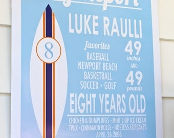 Surf Report Personalized Sign by Bloom Designs Online