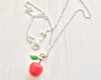 Teacher appreciation gift, Apple necklace, student gift for teacher, high school graduation gift, art teacher gift, english teacher gift, uk