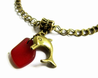 Sea Glass Ankle Bracelet, Brass Dolphin Anklet with Red Seaglass Charm