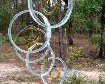 GLASS WINDCHIMES from RECYCLED bottles, eco friendly,sea foam yellow  garden decor, wind chimes, mobiles, musical, windchimes