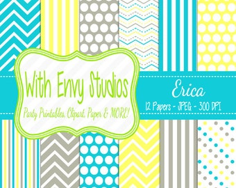 50% OFF  Teal and Yellow Digital Paper - Yellow and Gray Scrapbook Paper - Chevron Digital Paper - Polka Dot Paper,