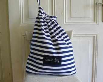 Laundry bag, thick cotton, Laundry bag for college, dirty clothes bag, stripes bag