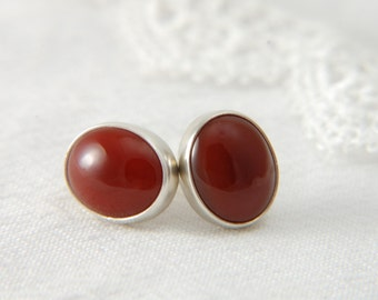 Carnelian Earrings Large Post Earrings Natural Stone Earrings Artisan Earrings Everyday Earrings Carnelian Jewelry