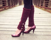 Womens Leg Warmers Women Knit Leggings Adult Legwear Burgundy Leg Wear Red Knitted Socks Star Accessories Winter Fashion Handmade Gifts