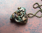 Diamond in the Rough 007 - Heart Pendant Necklace - Metal Coated Copper Patina - Steampunk