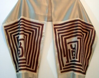 Tallit 17174 Red Sephirot 73.23 in x 15.75 in (186 cm x 40 cm) Dupion Silk and hand painted Habotai silk