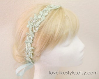 Mint Pearl and Sequined Lace Head Tie, Mint Headband, Bridal Headband, Bridesmaid Headband, Flower Girl Hair Band