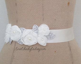 Ivory Chiffon Flower Pearl  Beading Sash, Bridal Sash, Bridesmaid Sash, Flower Girl Sash,SH-67