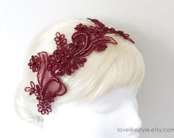 Wine , Burgundy   Beading Lace Headband ,  Bridal Wine Headband, Bridemaid Burgandy  Lace Headband