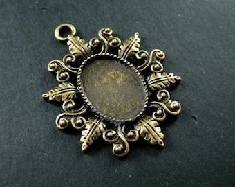 6pcs 13x18mm vintage style antiqued bronze alloy oval filigree flower DIY bezel tray pendant 1421064