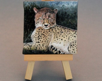 "Wildlife Art Gift: Cheetah - Acrylic Painting 3""X3"" with easel"