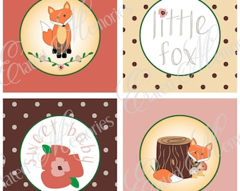 Little Fox Printable Party Squares - DIY Cupcake Toppers - Woodland Baby Shower - Vintage Rose