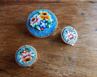 Miniature Mosaic Venetian Brooch and Earrings