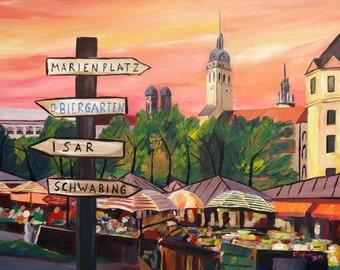 Munich Bavaria Viktualienmarkt with Signposts - a bustling Market Scene