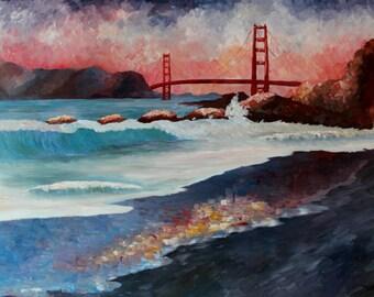 Golden Gate Bridge Waves near San Francisco California