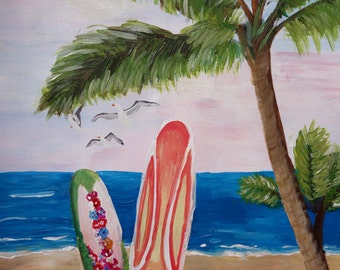 Caribbean Strand with Surfboards - fine art print