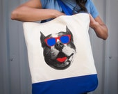 Cool Pitbull Dog Tote Bag with red & royal blue sunglasses printed on a large canvas grocery tote with gusset