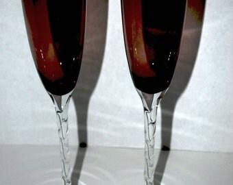 purple champagne glasses clear twisted design stem purple glass