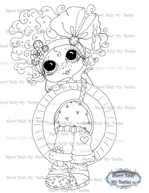 INSTANT DOWNLOAD Digital Digi Stamps Big Eye Big Head Dolls Digi  My - Besties  Tire Swing By Sherri Baldy