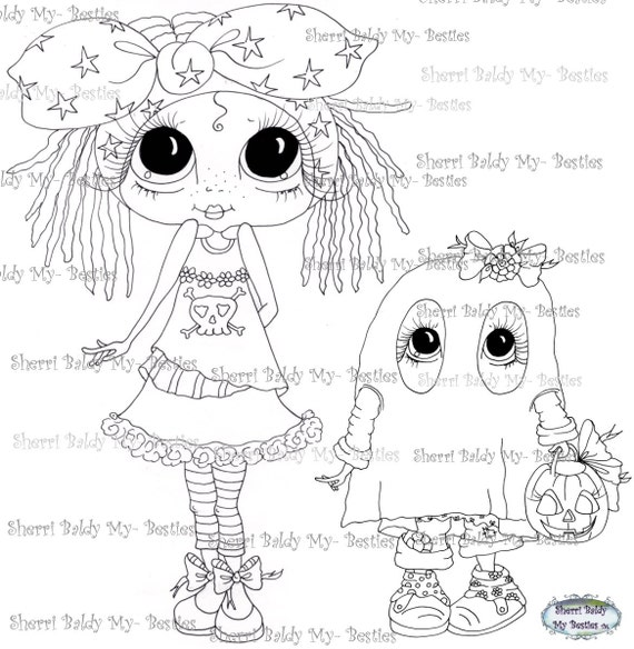 INSTANT DOWNLOAD Digital Digi Stamps Big Eye Big Head Dolls Digi Fairy Kitty Bestie Beastie TM By Sherri Baldy