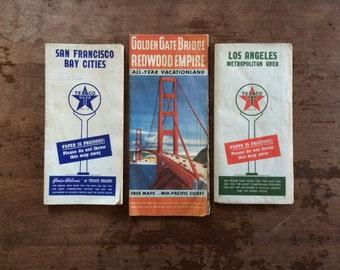 Vintage Los Angeles, San Francisco and Bay Area Maps