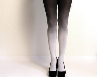 Ombre Tights - Fog - Hand dyed light gray and black