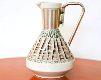 Ceramic Pink and Black Pitcher with Rose Gold Handle