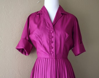 Vintage Handmade Fuchsia Sateen Cotton Fit and Flare Dress