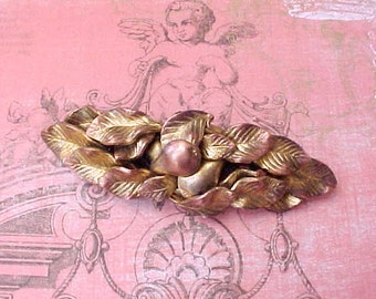Pretty Vintage 1930's Era Brooch with Pears Design Coppery Metal