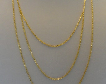 Classic Three Strand Gold Chain Necklace