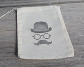 Set of 10 Hand stamped Bowler Derby Hat & Muslin Party Favor Bags 100% organic made in america