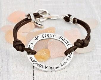 First Glance Bracelet - Inspirational Jewelry - Handmade Jewelry-Leather Bracelet - B202