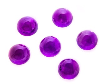 4.02 Ct Natural Purple African Amethyst Gemstone Round Cab Size 10 mm