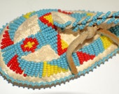 PLAINS INDIAN BABY Moccasin Beaded Hanging c1950