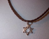 """Star of David Necklace-Sterling, your choice of color, sterling clasp, braided leather cord 16""""  Free shipping USA orders only"""
