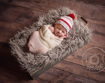 baby knit hat (dady's wool socks), photo props HAT ONLY