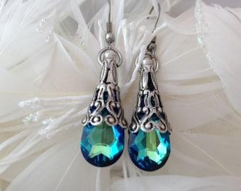 Bermuda Blue Swarovski Faceted Crystal  Dangle Stainless Steel Earrings