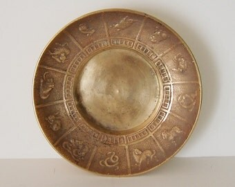 CHINESE ZODIAC SIGNS - Solid Brass Change or Trinket Dish - Made In Korea