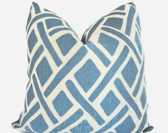 Kravet - Portfolio Thread River Blue - Decorative Pillow Cover - Throw pillow -  Linen