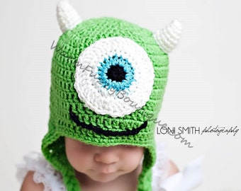 Instant Download PDF Crochet Pattern - No. 11 One Eyed Monster Ear Flap Hat - 5 Sizes
