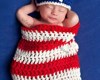 Newborn Stars and Stripes Cocoon Hat Set - Crochet Beanie Boy Girl Halloween Photo Prop Costume Christmas Winter
