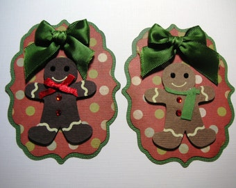 2 Christmas Gingerbread Embellishments - Scrapbook, Card Topper, tag, ornament