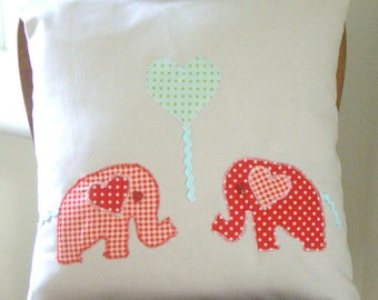 Charming Applique Elephant Love Pillow Cushion Cover - Perfect for a Nursery, Home decor