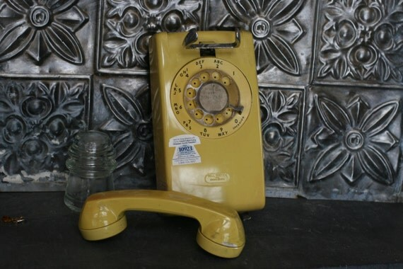 Vintage Yellow Rotary Telephone, Vintage Wall Mount Phone, 1980s telephone, Photography Prop