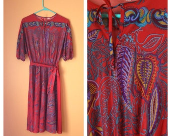 Red Paisley Kerchief Dress 1970s M/L