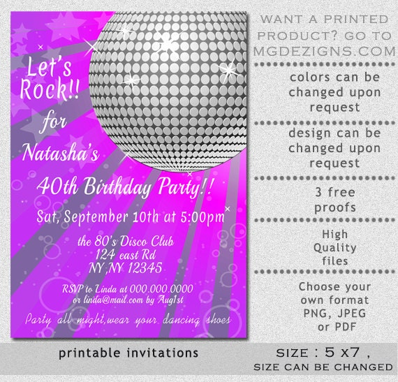 Printable Purple Disco Party Decade Theme Retro Birthday Party - Disco birthday invitation templates free