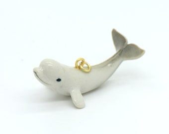 1 - Porcelain Beluga Whale Pendant Hand Painted Glaze Animal Small Ceramic Whale Bead Jewelry Supplies Little Critterz Porcelain (CA097)