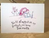 Handmade Printed Card - Friends